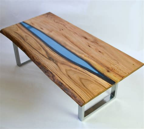 Resin River Coffee Table On Steel Base By Frances Bradley