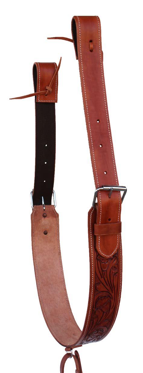 saddle western girth cinch horse rear flank billets leather carved