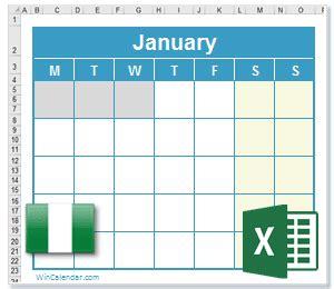 excel calendar ng holidays