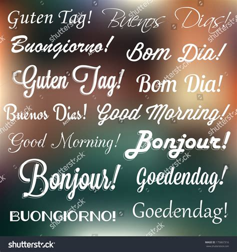 retro typography good morning  languages stock vector