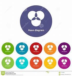 Round Venn Diagram Icons Set Vector Color Stock Vector