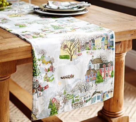 pottery barn christmas table runner winter village table runner benefiting give a little hope
