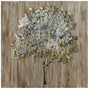 Tableau En Bois Décoration : tableau arbre 80x80 ajout l ments m tal en 3d sur bois peinture acrylique ~ Teatrodelosmanantiales.com Idées de Décoration