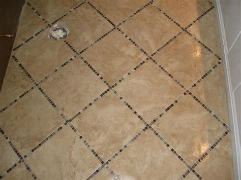 Porcelain Tile Floor With Glass Inlay  Kitchen Reno