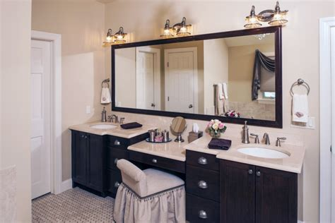 double sink vanity with makeup area images