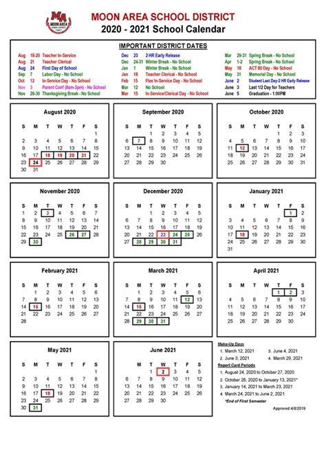 school calendar approved moon area school district