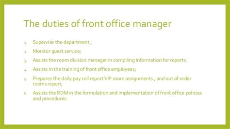 front office manager descriptions duties front office department design by
