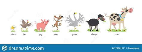 Available in png and vector. Funny Farm Animals Kids Vector Illustration Set Stock ...