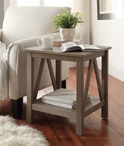 Linon, Titian, Rustic, Gray, End, Table