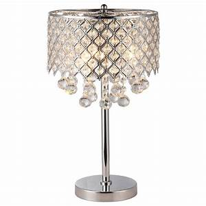 Chrome round crystal chandelier bedroom nightstand table for 4 light chandelier table lamp