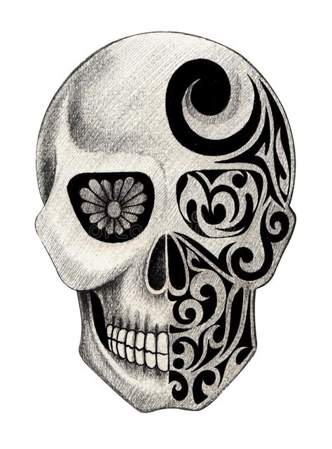 Art Skull Head Tattoo Stock Illustration Image Funny