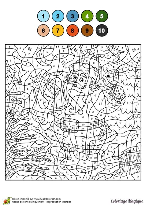 Dessin à Colorier D'un Coloriage Magique Cm2, Le Père Noël