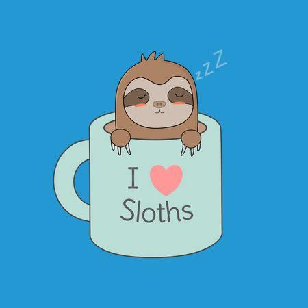 Coffee cup cartoon design kawaii expression cute character funny. Sloth In Coffee Is Cute And Kawaii - NeatoShop