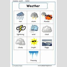 Weather English Vocabulary Worksheet  English Treasure Trove