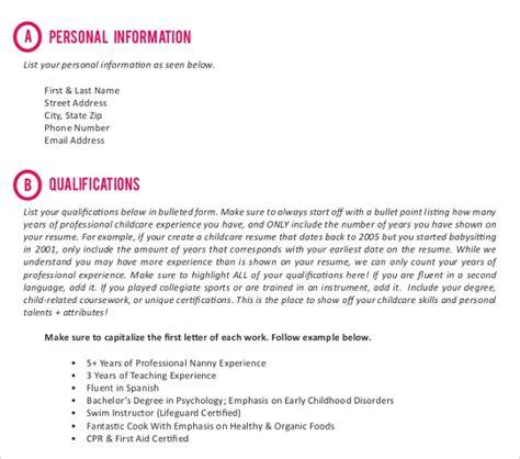 nanny resume templates    premium
