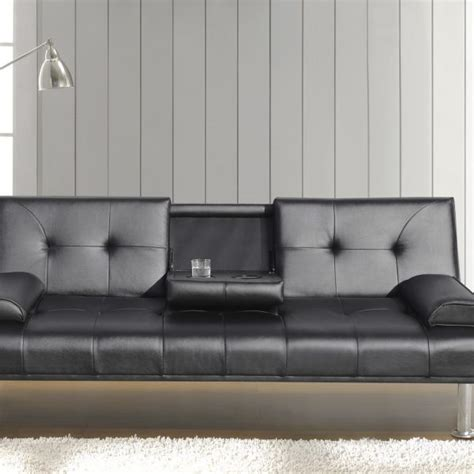black leather sofa bed with cup holder faux leather sofa bed with cup holder available in black