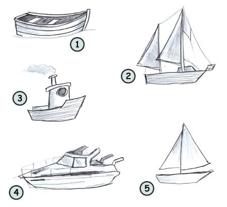 Boat Sketches by Fishing Boats Drawings
