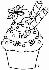 Coloring Cupcake Printable Cake Birthday Drawing Strawberry sketch template