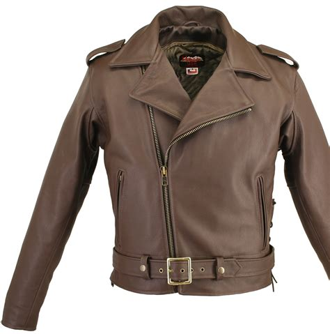 mc leather jacket full belted brown motorcycle leather jacket with side and