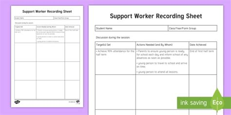 support worker recording sheet planning template