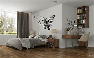 Bedroom butterfly wall art interior design ideas