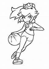 Peach Princess Basketball Coloring Pages Playing Printable Ball Cat Sports Basket Play Categories Books sketch template