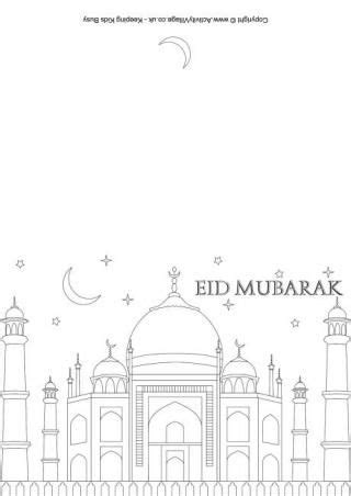 eid mubarak colouring card   images eid cards