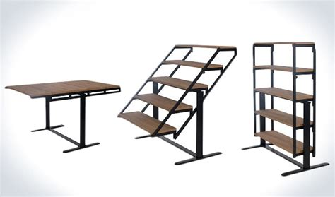 dining room transforming table that turns into a shelf geekologie