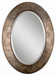 Antiqued, Silver, Champagne, Oval, Wall, Mirror, 28, X, 38, Inch