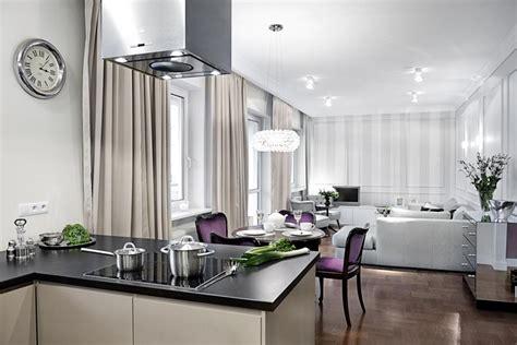 Salon W Stylu Modern Classic Z Kuchnią Inspiracja