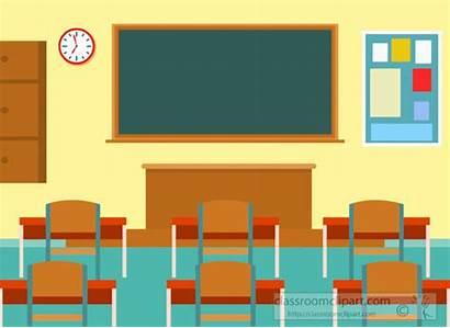 Classroom Clipart Student Flat Desks Illustration Interior