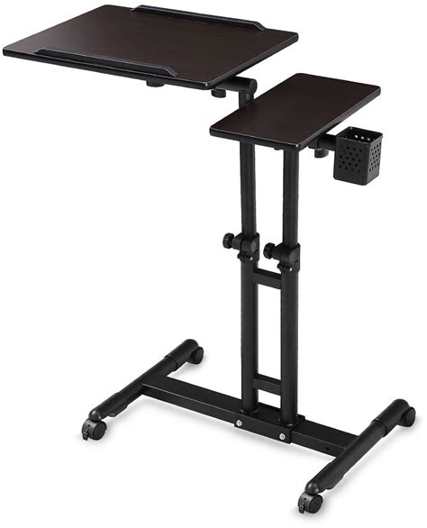portable computer desk on wheels adjustable computer desk height rolling laptop carts