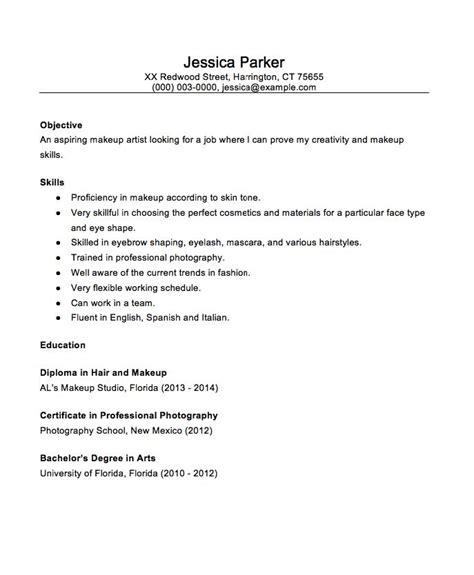 beginner makeup artist  resume sample http