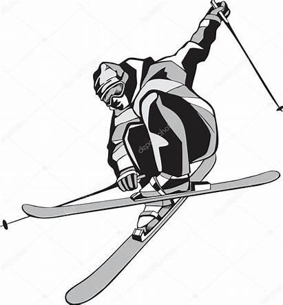 Skis Drawing Vector Skier Mountain Illustration Ski