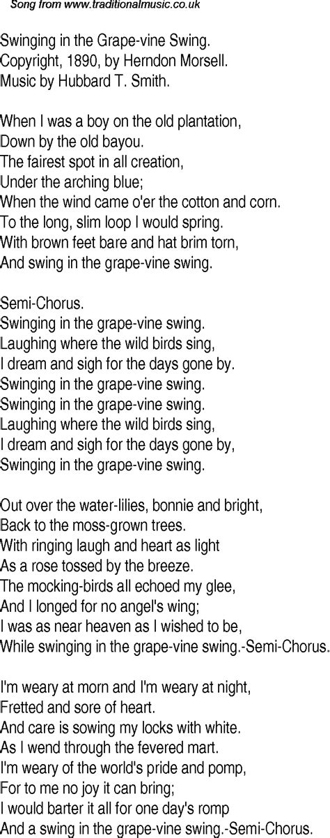 Swing Words by Time Song Lyrics For 29 Swinging In The Grape Vine Swing