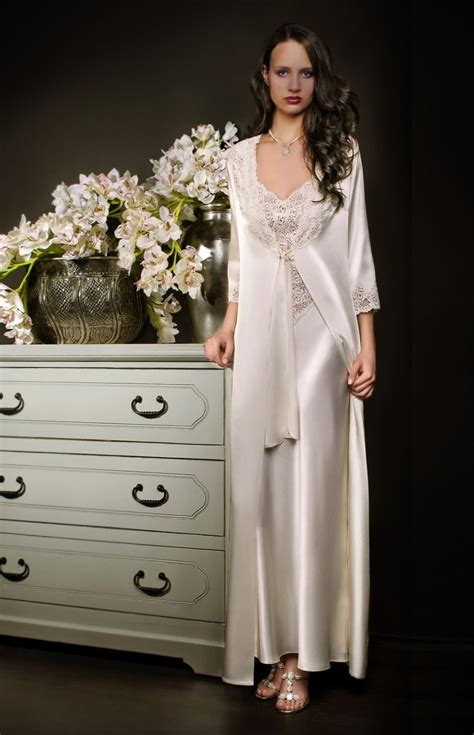 robe de chambre femme satin white satin and lace negligee and nightgown set
