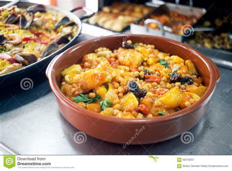 Chickpeas With Cod Mediterranean Style Cuisine Stock