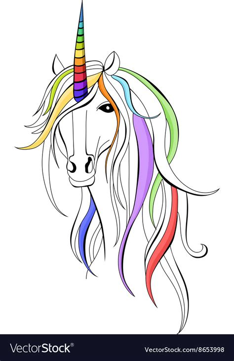 cartoon rainbow colored unicorn vector by dazdraperma image 621387 vectorstock