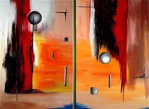 Tableau Peinture Sur Toile : tableau diptyque abstrait peinture sur toile ~ Teatrodelosmanantiales.com Idées de Décoration