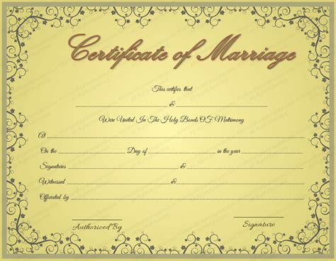 Golden Formal Marriage Certificate Template