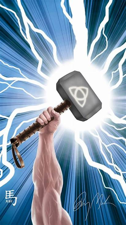Mjolnir Iphone Worthy Hdwallpaperfx Painting Wallpapers Scary
