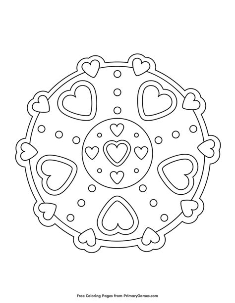 Hearts Mandala Coloring Page • FREE Printable eBook