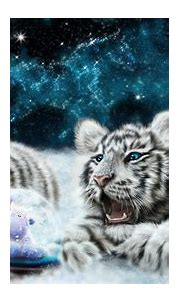 White tiger cubs looking at the snowglobe HD desktop ...
