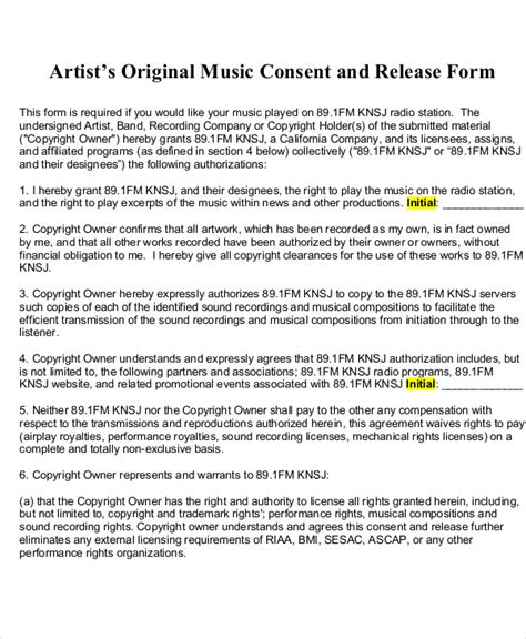 Music Copyright Release Form Template by 9 Sle Artist Release Forms Sle Templates