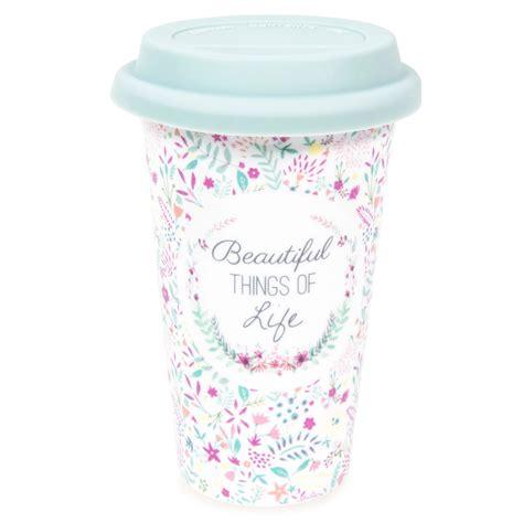 mug de voyage en porcelaine motifs fleurs beautiful maisons du monde