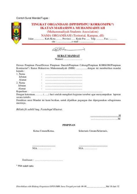 Surat mandat adalah surat yang bertujuan untuk memberi keterangan maupun pemberitahuan yang berisikan mandat (penugasan) seseorang sebagai perwakilan organisasi/instansi/perusahaan terhadap suatu kegiatan. Contoh Surat Mandat - Kumpulan Contoh Surat dan Soal ...