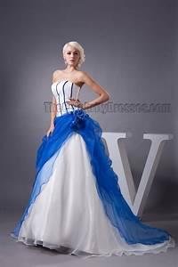 Celebrity Inspired Strapless Blue And White Formal Dress