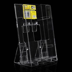 Clear Acrylic Vertical Brochure Stand Holder Tri