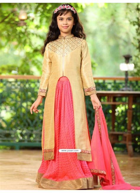 buy traditional goldish pink banglory silk dress