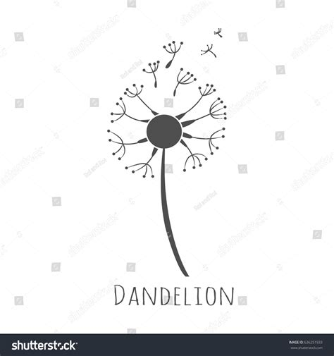 dandelion blowing vector silhouette isolated  stock